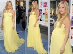 Modelos de vestidos para madrinhas gestantes - Amarelo