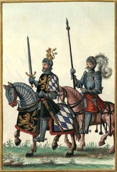 Louis IV, électeur palatin du Rhin, en 1525 ; il mourut en 1544. (dessin Gaignières 1559). -- «Louis Electeur Palatin IVe du nom mort le 16 mars 1544. D'après une peinture de la maison électorale de Merlheim, près Landau où il est représenté marchant contre ses sujets révoltés, il les défie à Pfenvesheim au mois de février 1525».