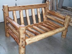 log couches - Google Search Cedar Furniture, Rustic Log Furniture, Wooden Pallet Furniture, Cabin Furniture, Log Decor, Diy Rustic Decor, Rustic Wood, Outdoor Fireplace Designs, Wooden Pallet Projects