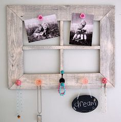 "5 foot 12 creations: barn wood makeover -- ""as part of my daughter's bedroom mini-makeover, i wanted to somehow include this cool barn wood window that i purchased at an antique shop. i decided to paint it and add knobs and hooks to hang jewelry and other cute little girly stuff from"""