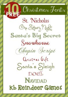 Best FREE Christmas Fonts--use on Holiday invitations, crafts and Christmas Printables! Christmas Fonts, Christmas Printables, Holiday Fonts, Christmas Crafts, Christmas Vinyl, Christmas Holidays, Christmas Ideas, Christmas Decorations, Web Design