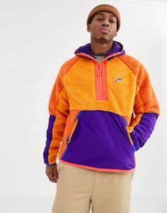 Shop the latest Nike winter sherpa half-zip hoodie in orange/purple trends with ASOS! Purple Fashion, Look Fashion, Mens Fashion, Purple Outfits, Casual Outfits, Men Casual, Sherpa Hoodie, Zip Hoodie, Nike Winter Jackets