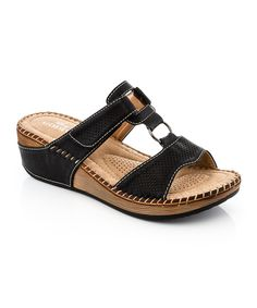 Look at this Lady Godiva Black Perforated T-Strap Sandal on #zulily today!