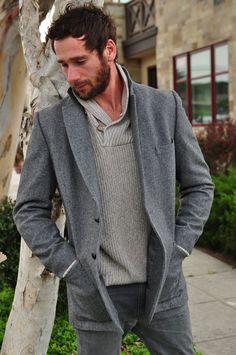 vintage Men's Gray Tweed Jacket Coat. $68.00, via Etsy.