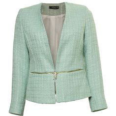 Sophie B Mint Brass Zip Jacket ($115) ❤ liked on Polyvore