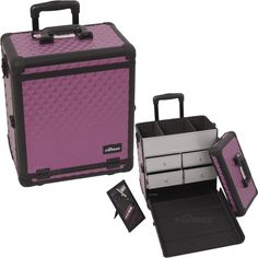 Purple and Black Diamond Makeup Case with Drawers on TheCosmeticSpace.com