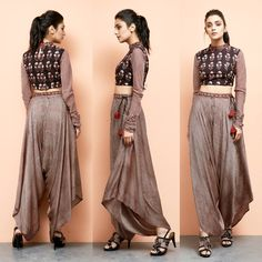 Bagru Printed Crop Top with Dhoti Pants