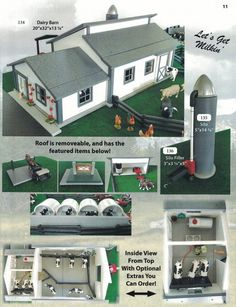 Milking Barn, Milking Parlor and Dairy Barn. Farm and Ranch Toys for Kids. INCLUDES: 2 cows and 2 calves plus the milking equipment. Amish Farm And House, Vintage Toys 1960s, Barn Layout, Cattle Barn, Farm Village, Ranch, Farm Projects, Horse And Buggy, Custom Hot Wheels