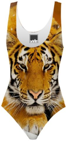 Siberian Tiger One Peice Swimsuit designed by Erika Kaisersot | Print All Over Me