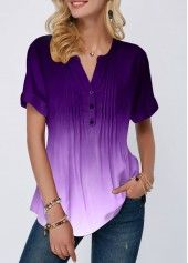 Purple Lavender Blouse Tops For Women Crinkle Chest Button Detail Split Neck Gradient Blouse Stylish Tops For Girls, Trendy Tops For Women, Blouses For Women, Trendy Fashion, Womens Fashion, Fashion Clothes, How To Roll Sleeves, Mode Outfits, Ladies Dress Design