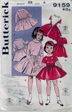 Vintage 50s Girls Dress 6 Versions Sewing Pattern 9159 Size 4