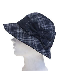 Another great find on #zulily! Black Plaid Bow Wool-Blend Cloche #zulilyfinds