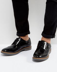9f4db392c003 Base London Turner Leather Hi Shine Brogue Shoes In Black