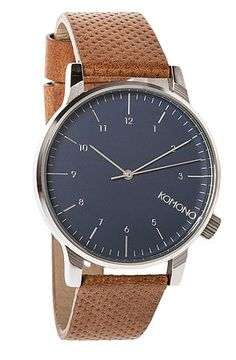 Komono Winston Watch | Blue Cognac. Not too much, not too little, every detail just right: thats the mark of a true Winston Watch. Its designs are devoted to timeless classic designs with a contemporary twist to detail.