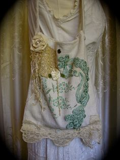 Burlap Linen Bag upcycled eco friendly vintage burlap fabric lace shabby french cottage chic Handmade.
