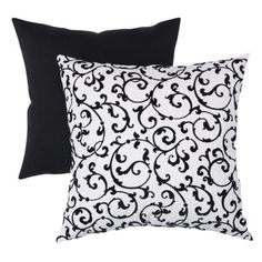 Decorative Flocked Damask Square Toss Pillow - Black/ White.Opens in a new window