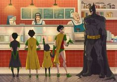 Batman and the Robins getting Ice Cream - by (?? Reverse google)