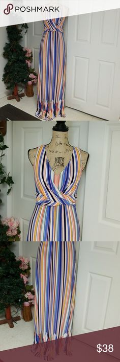 Jessica Simpson Maxi Dress Multi-colored striped maxi dress  This dress is so beautiful!  Different design on the bottom  The back is so cute!  Stretch material Jessica Simpson Dresses