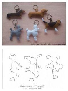 lovely felt dog patterns, for key ring or i can image the poodle hanging from a Paris bag as a charm, so cute 20 moldes que vc precisa ter Free sewing pattern for doggie keychains Fifi the French Poodle - made of felt and pom poms Hay q probaaaar! Sewing Toys, Sewing Crafts, Sewing Projects, Craft Projects, Free Sewing, Craft Ideas, Dog Crafts, Felt Crafts, Diy And Crafts