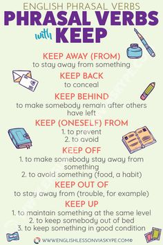 Phrasal Verbs with Keep and their meanings. Learn English Phrasal Verbs in context. For example, my parents are considering moving to a smaller place. The house is becoming too expensive for them to keep up. English Verbs, Learn English Grammar, English Writing Skills, English Vocabulary Words, English Phrases, Learn English Words, English Study, English Lessons, English English