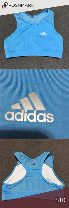 Baby Blue Adidas Climalite Sports Bra Worn once! Adidas Climalite Sports bra, size small, NO TAG. Light lining (shown in photo), but no padding or wires, very comfortable. Mesh back panel for great breathability & cooling. Gorgeous baby blue color. Just clearing out my closet, this is like new! adidas Other