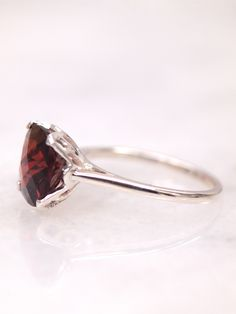 Garnet Rose Solitaire Engagement Ladies Ring