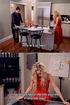 Melò - Carrie lascia Mr Big alla fine della prima serie. Non la vede nemmeno se si veste di fucsia.
