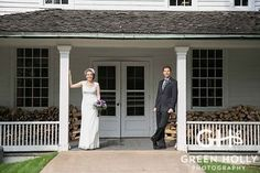 Beautiful Couple outside of Eagle Tavern during a summer wedding in the village!