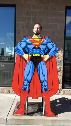 Manfred as Super hero Superman Photos, Face Cut Out, Photo Cutout, Face In Hole, Superhero Theme Party, Wonder Woman Party, Mother Son Dance, Party Props, Party Ideas