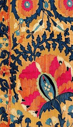 [Detail: Lakai suzani from Rippon-Boswell's Vok sale .] [Details: Lakai suzani on deep blue ground, al. Textile Patterns, Print Patterns, Floral Patterns, Pattern Art, Pattern Design, Vintage Design, Fabric Wallpaper, Fiber Art, Fabric Design