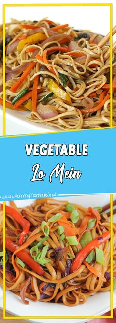 Vegetable Lo Mein Via #yummymommiesnet #healthyrecipes healthy recipes #recipes recipes #sundaysupper sunday supper ideas #comfortfood comfort food recipes #paleo paleo #glutenfree gluten free recipes