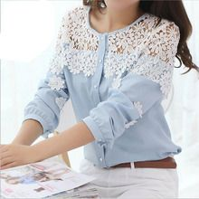 Cheap blouse shoulder, Buy Quality shirts for short guys directly from China shirt Suppliers: 2014 Spring And Summer Women Blouse Long Sleeve Hollow Out Lace Blusas Lace Patchwork Chiffon Shirt Blouse Lace Shirt Diy Fashion, Ideias Fashion, Fashion Dresses, Fashion Women, Street Fashion, Diy Vetement, Mode Hijab, Chiffon Shirt, Mode Outfits