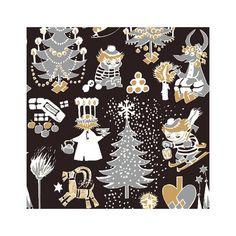 Christmas Moomin napkins black by Suomen Kerta