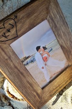 Personalized, 5th Anniversary Custom Rustic wood 5X7 wedding picture frame, love tree carving wedding gift. $27.99, via Etsy.