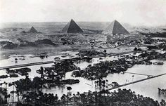 Great image showing flooding of the Nile when it was up to the pyramids area at the beginning of the last century before the construction of the Aswan Dam and the High Dam. http://www.nilesun.com/