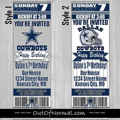 54 best dallas cowboys birthday party images on pinterest cocktail dallas cowboys themed birthday invitation tickets football filmwisefo