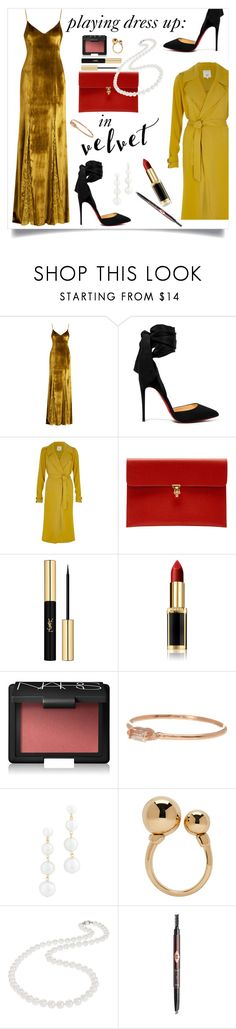 """""""Dressing Up in Velvet is Always the Right Answer"""" by maggiesinthemoon on Polyvore featuring Galvan, Christian Louboutin, River Island, Alexander McQueen, Yves Saint Laurent, L'Oréal Paris, NARS Cosmetics, Suzanne Kalan, Rebecca Minkoff and Chloé"""