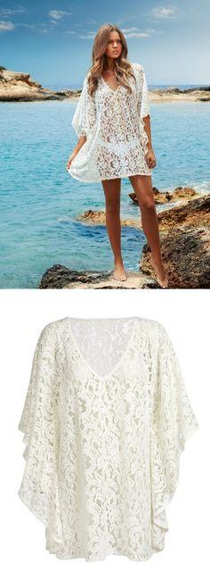 Europeu solta rendas biquíni de praia 2016 verão novo Sexy Swimwear mulheres Big Size oco saida de praia em Saídas de Praia de Roupas e Acessórios
