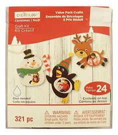 Creatology Christmas Activity Kit ~ Makes 24 Picture Frame Ornaments (Snowman, Penguin, Reindeer #ChristmasCraftsPictureFrames