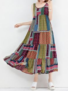 Brand: No Specification: Sleeve Length:Sleeveless Neckline:O-neck Color:Floral Style:Vintage Dress Length:Mid-Calf Pattern:Patchwork Material:Polyester Season:Summer Package included: 1*Dress