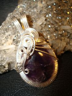 Amethyst Wire Wrapped Pendant by superioragates on Etsy, $35.00
