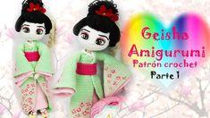 Muñeca a crochet o amigurumi Geisha Crochet Doll Pattern, Crochet Dolls, Crochet Patterns, Crochet Hats, Geisha Tattoos, Geisha Kunst, Patron Crochet, Amigurumi Tutorial, New Dolls