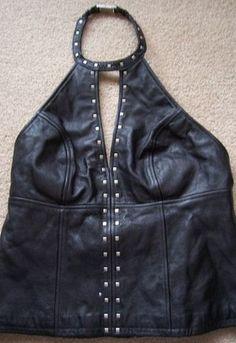 "Harley Davidson Leather Halter Top Studded Choker ""Spark"" Style 42 14 97016 03VW | eBay"