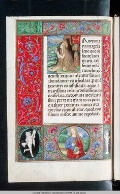 Title Codex Vindobonensis Palatinus 1849 Description Miniature. Saint Mary Magdalene in prayer. Saint portrait in border. Book of Hours.