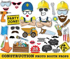 Construction Photo Booth Props Construction by SimplyEverydayMe Paper Cutting, Dump Truck Party, Planners, 38th Birthday, Construction Birthday, Fathers Day Crafts, Party Props, Party Ideas, Photo Booth Props