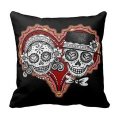 Sugar Skull Couple Day of the Dead Pillow