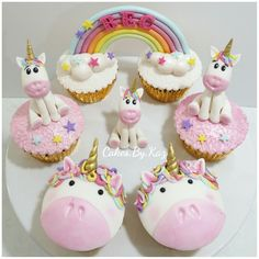 Unicorn & rainbow cupcakes. Cakes.By.Kaz