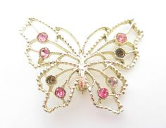 Gold Butterfly and Pink Rhinestone Brooch, Vintage Butterfly Brooch, Vintage Pin