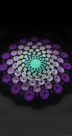 New release, the stone mandala crochet pattern by goolgool. Overlay crochet project, all the circles are worked as you go. The stone mandala was inspired by the amazing work of Elspeth McLean. Motif Mandala Crochet, Crochet Motifs, Crochet Squares, Crochet Round, Crochet Doilies, Crochet Flowers, Crochet Stitches, Crochet Hooks, Ravelry Crochet