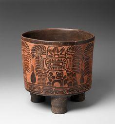 Tripod Vessel, 4th–5th century -Mexico, Mesoamerica - Culture: Teotihuacan - Medium: Ceramic, red ochre